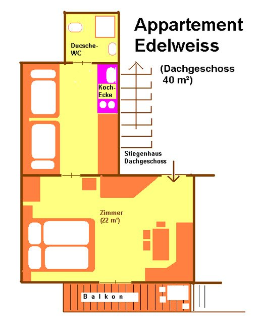 Floor plan of the apartment Edelweiß