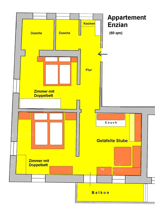 Floor plan of the apartment Enzian