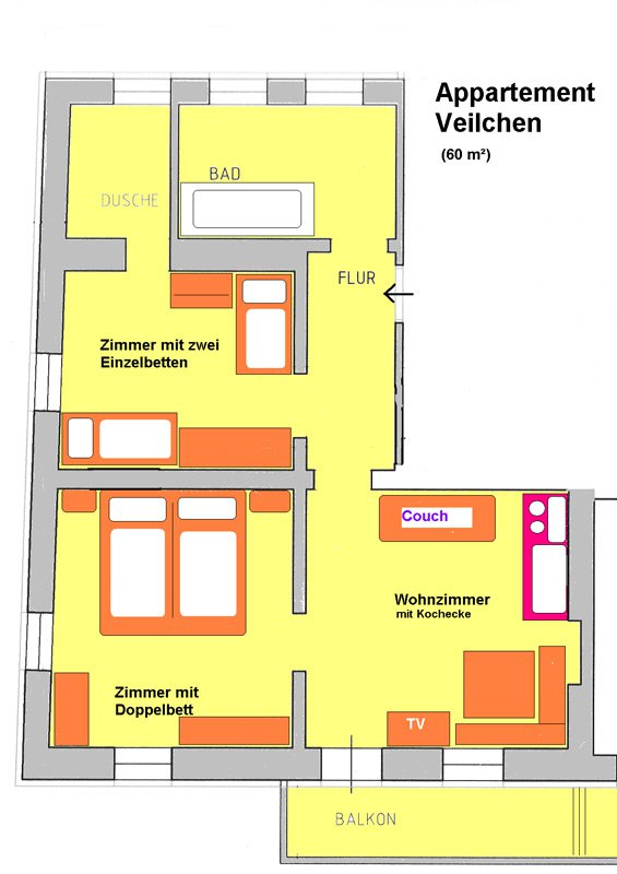 Floor plan of the apartment Veilchen